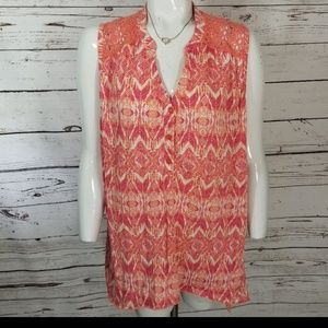 ⚡FRENCH Laundry Sleeveless Coral Blouse 1X Chevron